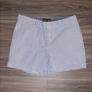 White & Grey Striped Shorts